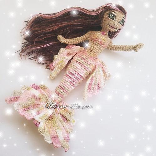 """OOAK 12"""" . """"Rose Gold"""" Pink Mermaid . Custom Mermaid. Crochet Mermaid."""