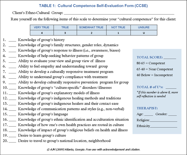 Cultural Competency Check List