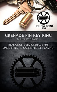 Hollow-Point Gear bullet grenade pin key ring product packaging