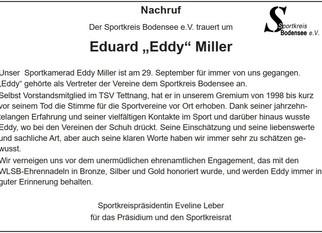 Der Sportkreis trauert um Eduard Miller