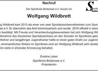 Nachruf für Wolfgang Wildbrett