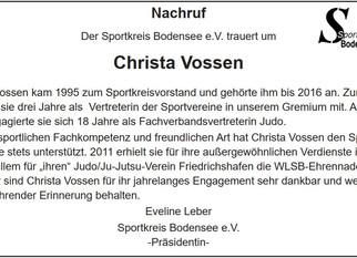 Nachruf für Christa Vossen