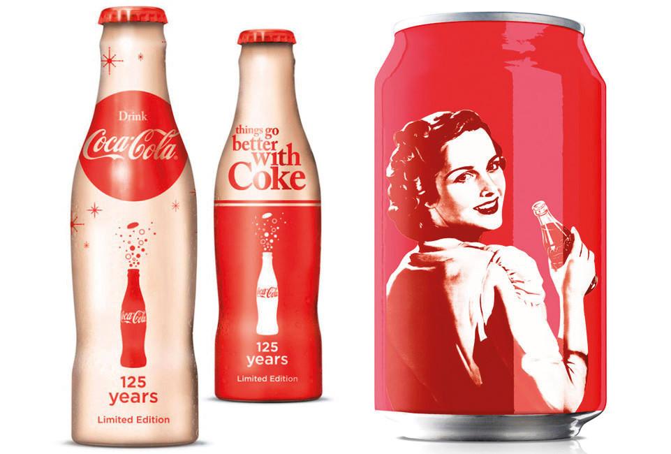 Embalagens retrô da Coca Cola