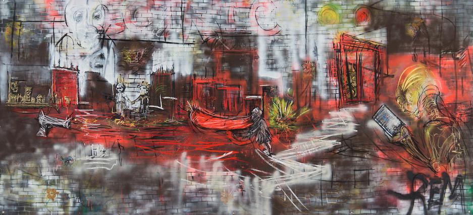 GUNS,GUNS,GUNS_2018_charcoal, pastel, spray paint on canvas, 60in x 144in
