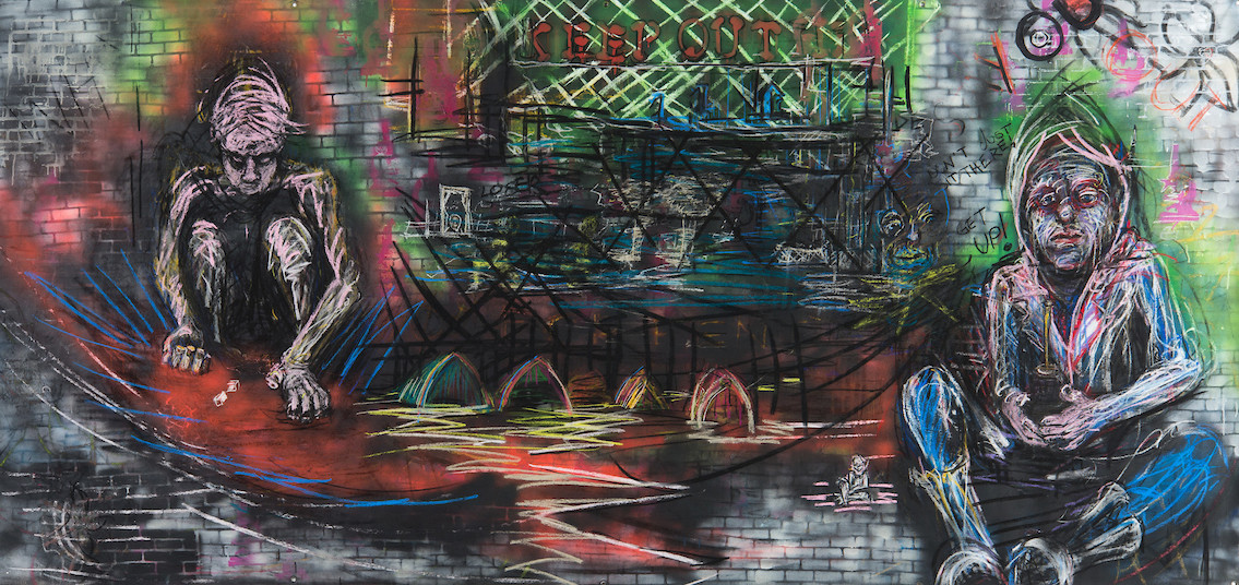 Keep Out_2018_charcoal,pastel, spray paint on canvas, 60in x 144in
