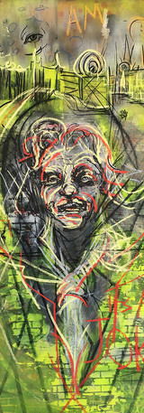 It's A Joke_ 72 x 36 in_charcoal, pastel, spray paint on canvas_2018