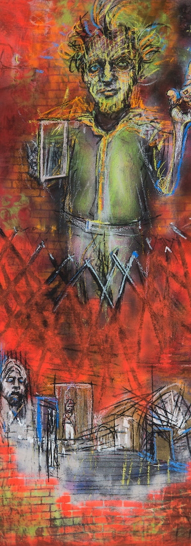 Excuse Me_84 x 36 in_charcoal, pastel, spray paint on canvas_2018