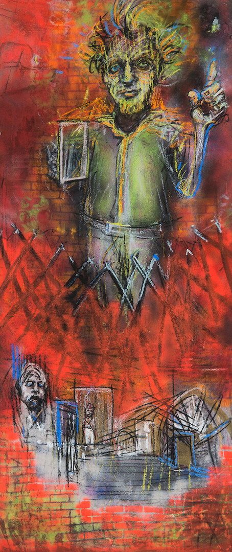 Excuse Me__2018_charcoal, pastel, spray paint on canvas_84 x 36in