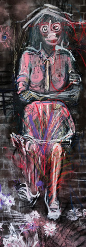 I'm Not A Stereotype_84 x 36 in_charcoal, pastel, spray paint on canvas_2018