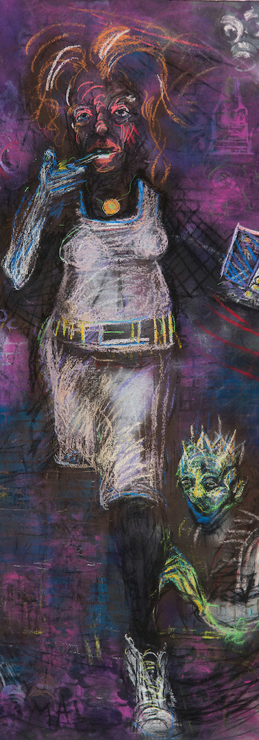 Coming Over_84 x 36 in_charcoal, pastel, spray paint on canvas_2018