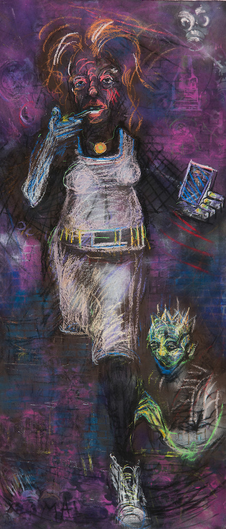 Coming Over_2018_charcoal, pastel, spray paint on canvas_84in x 35in