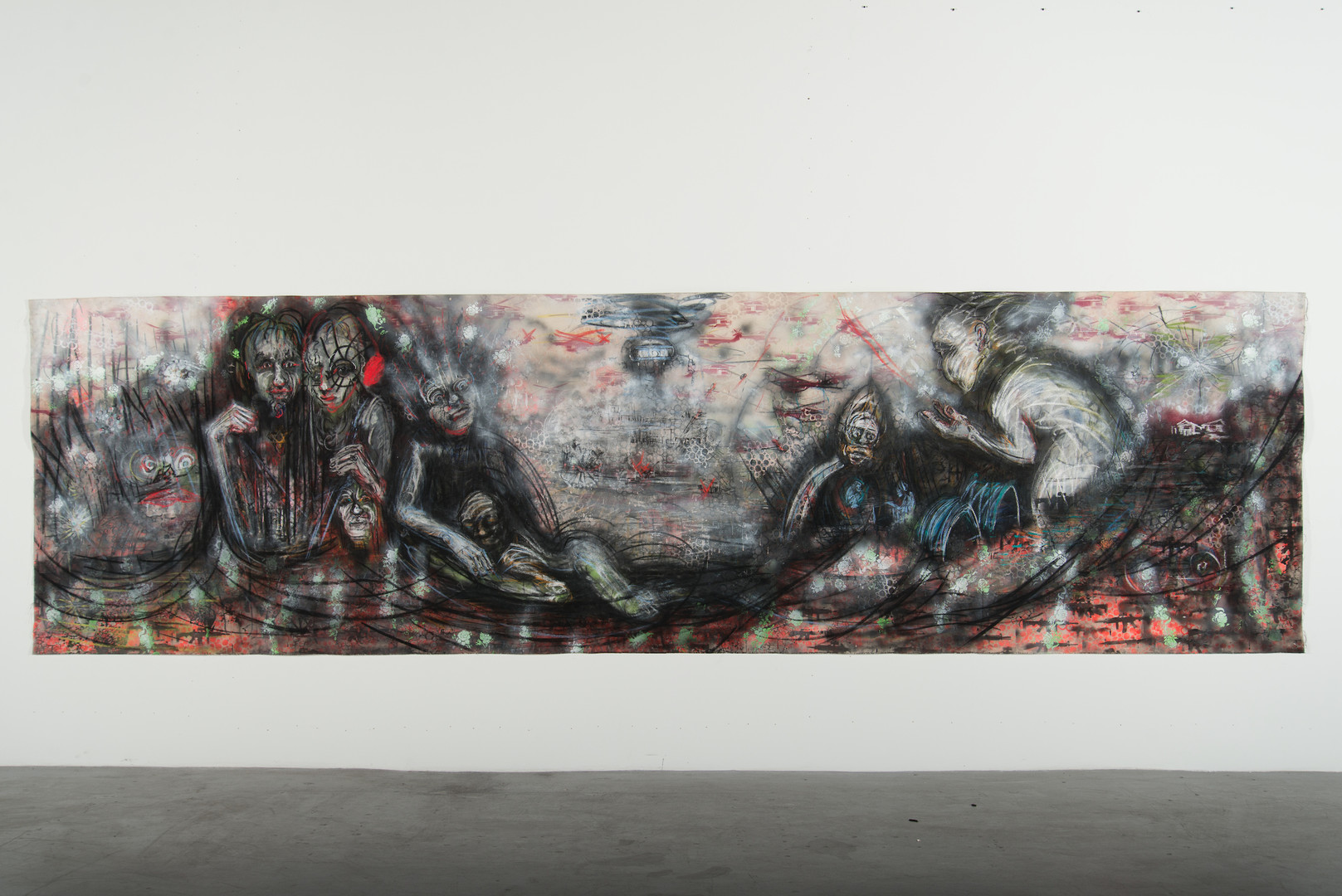 Drone Attack_2018_charcoal, pastel, spray paint on canvas_60in x 210in