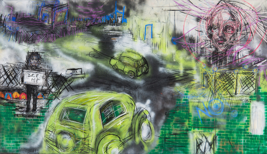 DoYouSeeMe?...Keep Your Eyes on The Road_60 x 108in_charcoal, pastel, spary paint on canvas, 2018