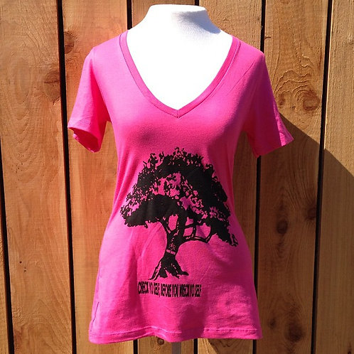 Ladies Tree V-Neck