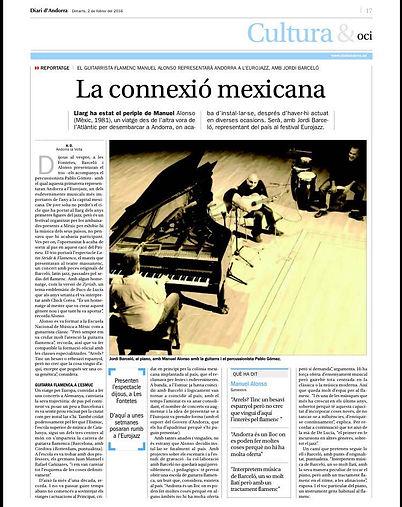 LATIN STRIDE FLAMENCO articulo diari d'Andorra 2 febrero 2016