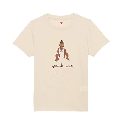 T-shirt beige illustré fille