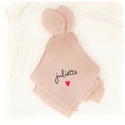 Doudou lapin rose layette
