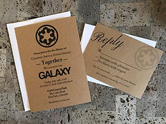 Rustic Star Wars Themed Wedding Invitation And Rsvp Card Set