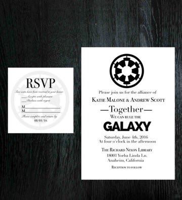Star Wars Wedding Invitation Rsvp Set
