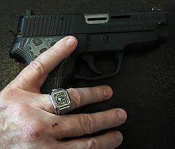 The Molon Labe Ring with Gun