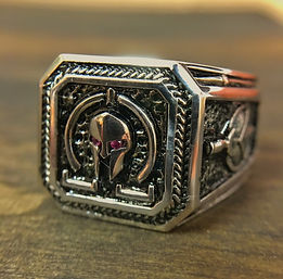 Molon Labe Ring with Ruby Eyes
