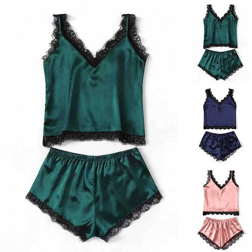 Pajama Set Women Satin Sleepwear Spaghetti Strap Top Floral Lace Shorts Sexy