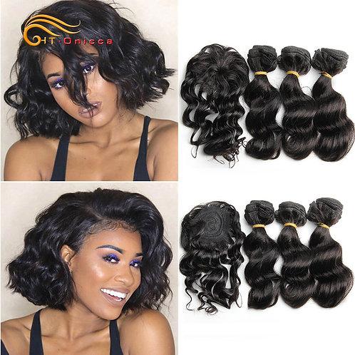 Htonicca Loose Deep Brazilian Hair Weave Bundles 8 Inch 100% Human Hair