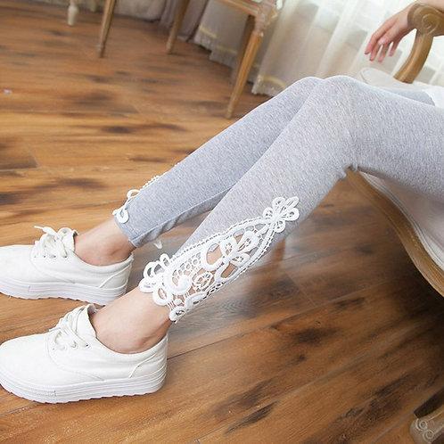 4colors Fashion Women Lace Hollow Legging Cotton Leggings