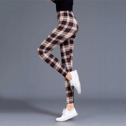 Plaid Leggings Women Sexy Pants Push Up Leggings