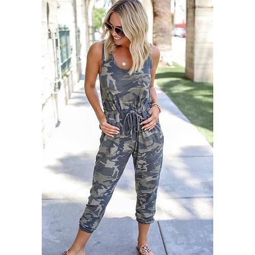 Fashion Sleeveless Camouflage Vest Drawstring Jumpsuits
