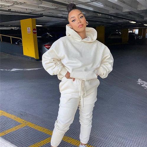 2020 Solid Women's Set Hooded Sweatshirt Jogger Pants