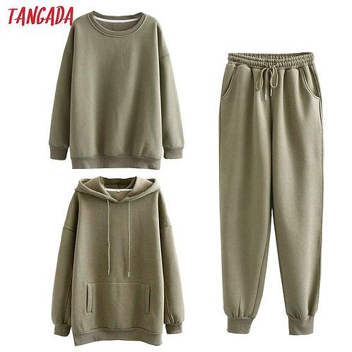 Tangada Women Couple Tracksuit Fleece 100% Cotton Suit 3 Piece