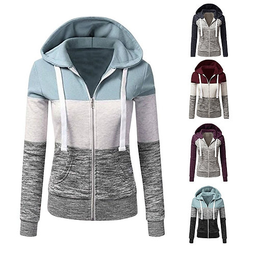 Hoodies Long Sleeve Hoody Ladies Zipper Pocket Patchwork Hooded Sweatshirt