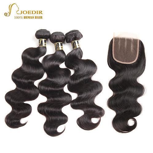 Joedir Body Wave Human Hair Bundles With Closure Brazilian Hair Weave Bundles