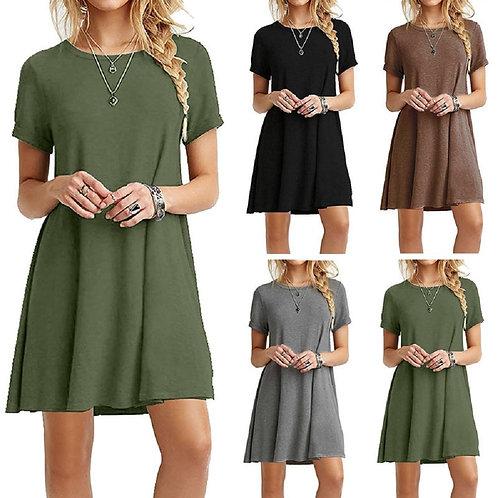 Women Solid Dress Summer Casual Loose Short Sleeve