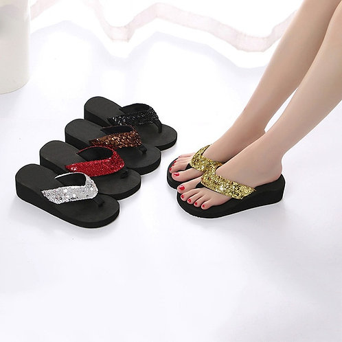 Summer Sequins Anti-Slip Sandals High Heel Slipper