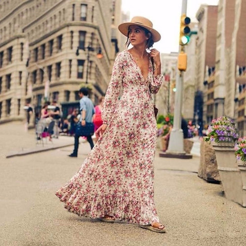 Retro Vintage Floral Printed Long Dresses Vestidos Full Sleeve