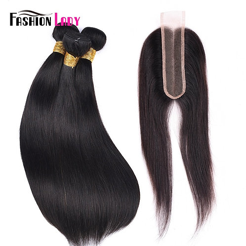 FASHION LADY Brazilian Straight Hair Weave 100% Human Hair 2/3 Bundles