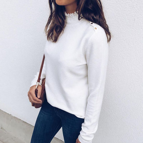 Fashion Lace Round Neck Shoulder Button T Shirt Women