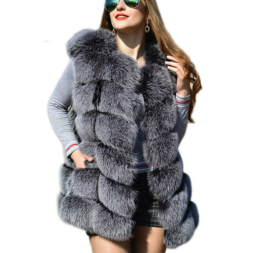 CP Faux Fur Factory Fox Artifical Fur Vest Women Autumn