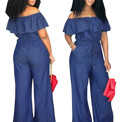 New Casual Women's Bodycon Jumpsuit Lace Up Solid Jeans Denim