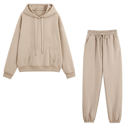 Women Tracksuits Autumn Winter Thick Fleece Warm Solid Sui