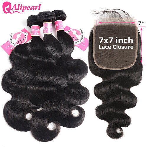 Body Wave Bundles With 7x7 Closure Free Part Brazilian Hair
