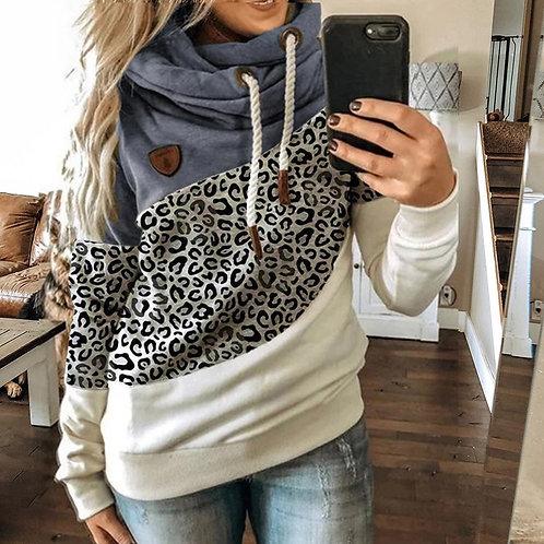 Winter Leopard Print Sweatshirts Women Casual Turtleneck