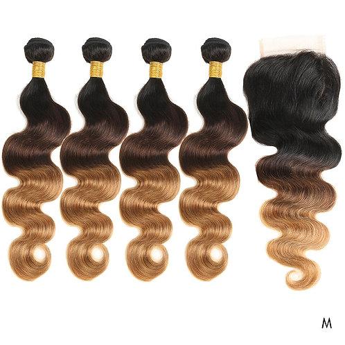 Brazilian Hair Bundles With Closure Platinum Blonde Weave Hair