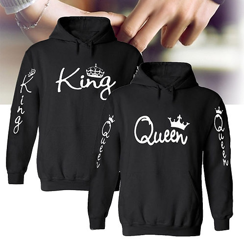 2019 Cute King Queen Hoodie Oversized Sweatshirt Womens