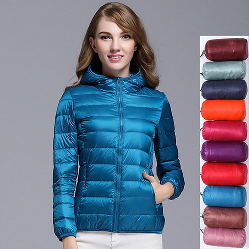 Women 90% White Duck Down Jacket Autumn Female Ultra