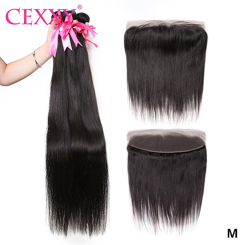 CEXXY Bundles With Frontal Straigth Peruvian Hair Weave Bundles
