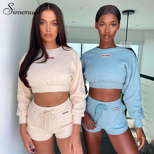 Two Piece Sets Women Long Sleeve Fall 2020 Crop Top and Shorts