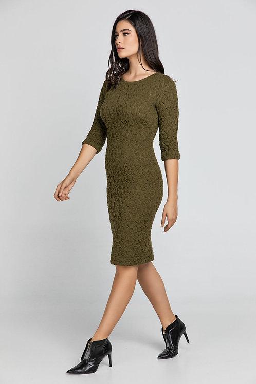 Khaki Jacquard Dress By Conquista Fashion